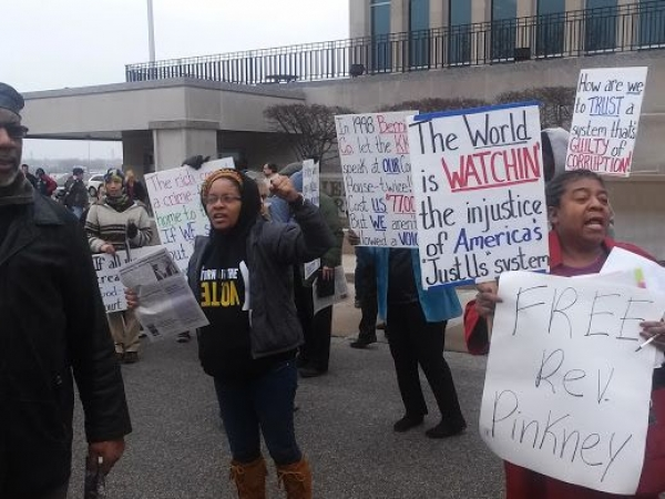 Supporters of Rev. Pinkney demonstrate their anger and determination to win justice. They refuse to be intimidated into silence, though they see clearly the corruption in Berrien County.