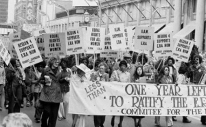 Activists supporting the Equal Rights Amendment during a 1978 rally in Chicago.