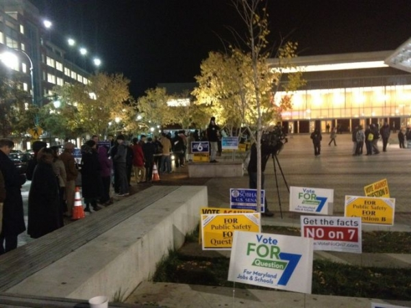 The early voting line was almost two blocks long in downtown Silver Spring, Md., 30 minutes before the close on Nov. 2, 2012