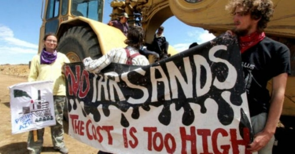 A file photo of an anti-tar sands protests that took place in Utah in 2013 .