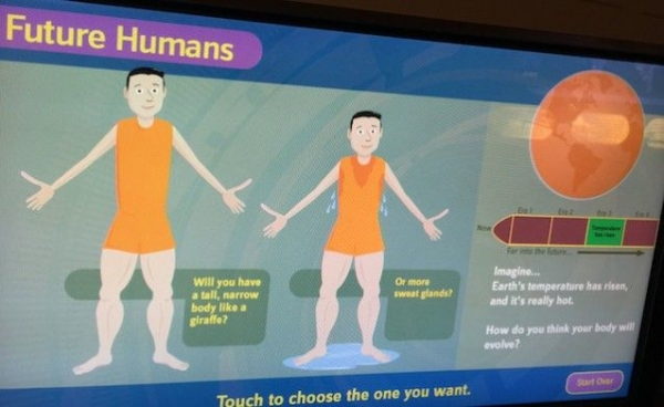 In the Smithsonian exhibit on how past climate change was supposedly beneficial to human evolution, visitors can solve our current climate crisis by deciding how humans will evolve to warming. Seriously.