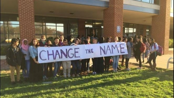 Stuart High School students who support a name change for the school held a rally in November in front of Stuart