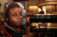 The casket of Michael Brown sits inside Friendly Temple Missionary Baptist Church awaiting the start of his funeral on Aug. 25, 2014, in St. Louis.